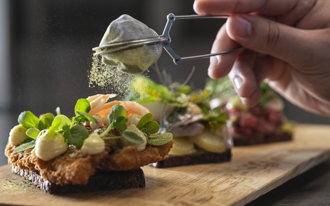 an open sandwich classic danish recipe made on a super location at Hammershus - Gastro - Anders Beier